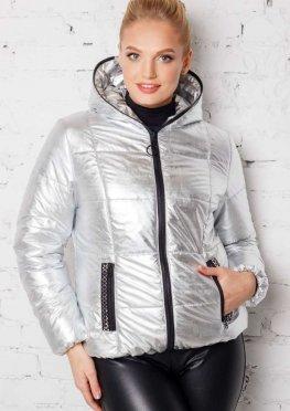 Короткая женская куртка весна / осень в цвете - серебро