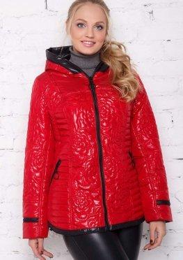 Красная весенне/осенняя куртка средней длины