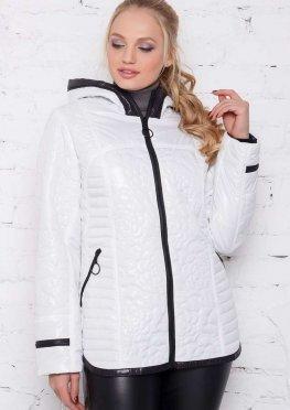 Куртка женская белая со стеганым цветочным орнаментом
