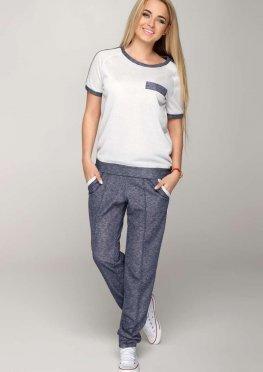Спортивный костюм женский Кейт: футболка и брюки из легкого трикотажа с люрексом сине-белый весна-лето