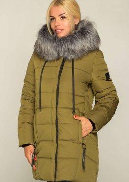 Зимняя женская куртка-пальто, цвет хаки