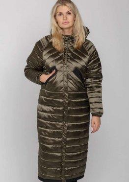 Молодежное модное демисезонное пальто в стиле оверсайз цвета хаки