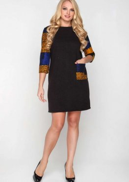 Платье Трапеция из шерсти черного цвета