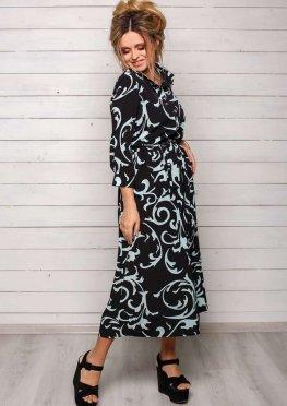 Летнее черное платье Зара с белым крупным узором, миди, пояс