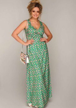 Сарафан Ирма макси зеленого цвета с розовым крупным узором геометричной формы