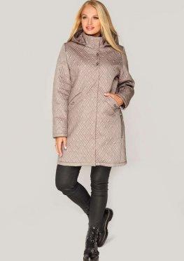 Демисезонная женская куртка стеганая, бежевого цвета