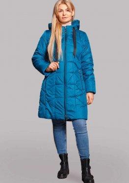 Бирюзовая демисезонная куртка в размерах 50-60 с капюшоном