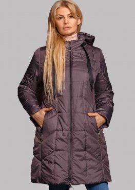 Демисезонная женская куртка темно-сиреневого цвета в размерах 50-60 с капюшоном