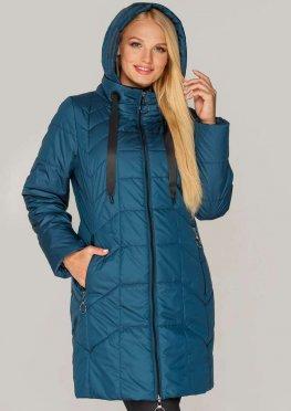 Женская демисезонная куртка в стильном цвете волны в больших размерах