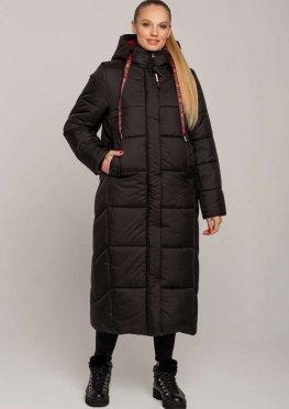 Пальто женское зимнее из плащевки черное