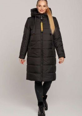 Женское зимнее пальто из плащевки в черном цвете р. 46-56