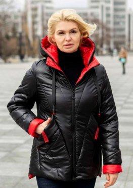 Черная куртка на сезон весна / осень больших размеров
