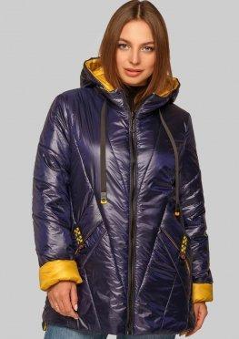 Модная куртка на межсезонье синяя больших размеров
