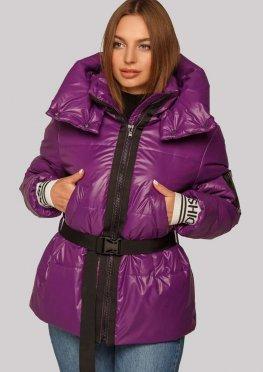 Куртка на весну / осень ультрамодного цвета фуксия с трикотажным поясом