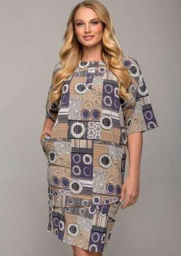 Летнее платье с абстрактным бежевым рисунком длина до колена
