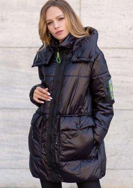 Куртка женская демисезонная удлиненная черная оверсайз, 46-52 р
