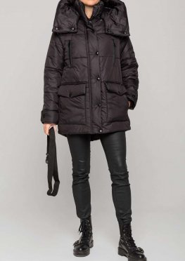 Демисезонная женская куртка еврозима черная матовая, 46-56 р