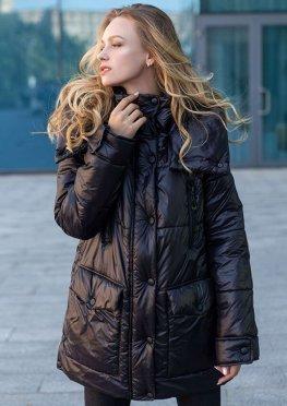 Демисезонная женская куртка еврозима черная, 46-56 р