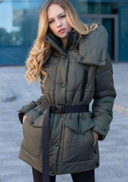 Куртка демисезонная женская еврозима цвета хаки, 46-56 р