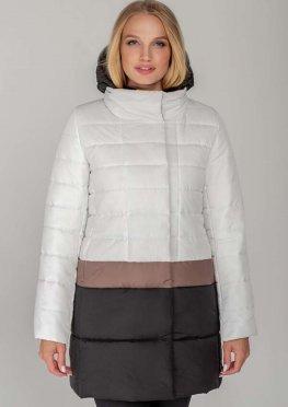 Женское пальто-куртка Томи белое с бежевой полосой демисезон