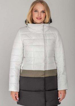 Белая с полосой цвета хаки удлиненная куртка Томи демисезон