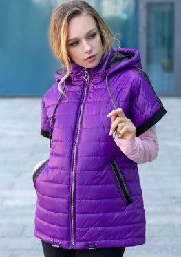 Женская стеганная жилетка цвета фуксия (фиолетовая)