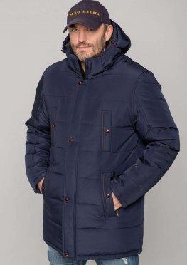 Практичная мужская зимняя куртка  темно-синего цвета