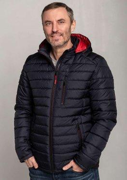 Мужская стильная демисезонная куртка синяя с красным капюшоном