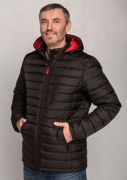 Мужская стильная демисезонная куртка черная с красным капюшоном