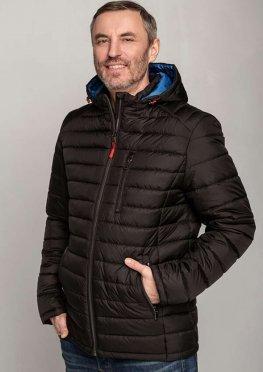 Мужская стильная демисезонная куртка черная с голубым капюшоном