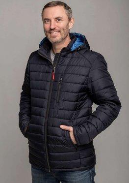 Мужская стильная демисезонная куртка синяя с голубым капюшоном