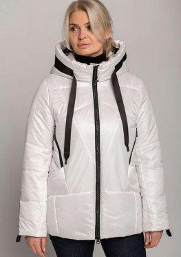 Белая демисезонная женская куртка с контрастной отделкой