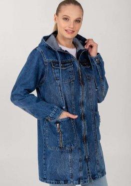 Демисезонная женская джинсовая куртка-ветровка на молнии с накладными карманами