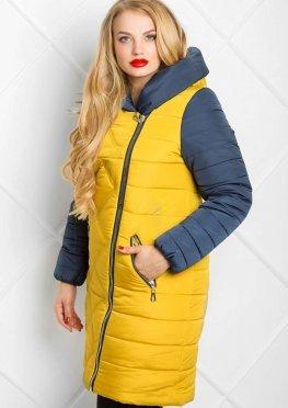 Зимнее пальто в цвете горчица