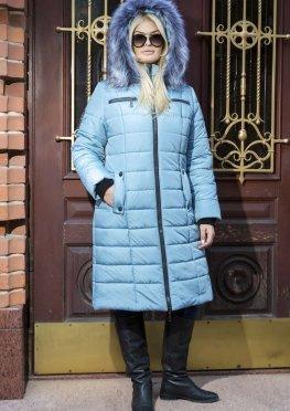 Женское пуховое пальто в цвете брокард на зиму