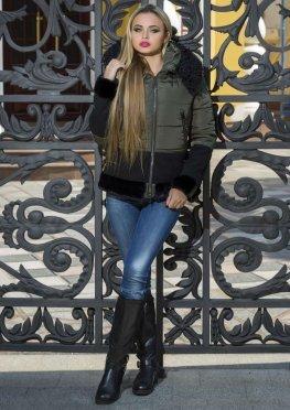 Женская молодежная куртка с капюшоном и мехом, хаки