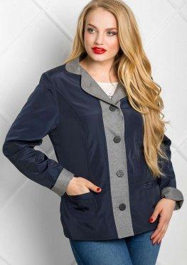 Ветровка-пиджак женская комбинированного покроя синяя