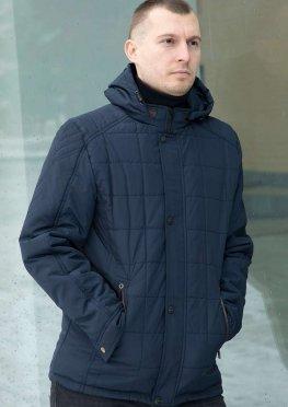 Мужская темно-синяя куртка на весну/осень с капюшоном