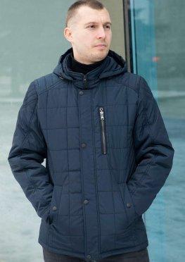 Куртка мужская демисезон темно-синяя стеганная крупной клеткой