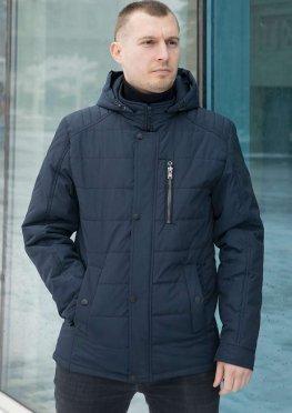 Мужская куртка демисезонная с капюшоном темно-синяя с 3-мя внешними карманами