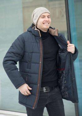 Куртка мужская зимняя темно-синяя  с коричневой отделкой эко-мехом