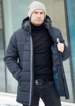 Мужская темно-синяя демисезонная куртка с серой отделкой эко-мехом воротника и капюшоном
