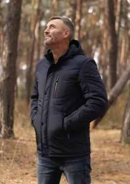 Мужская темно-синяя демисезонная куртка с капюшоном и карманами на молнии