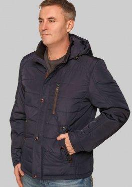 Практичная мужская демисезонная куртка  синего цвета