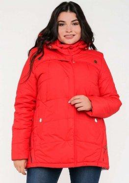 Зимняя женская куртка в размерах 48-62 цвет красный