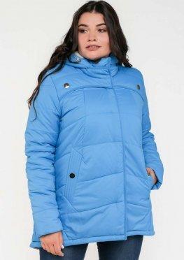 Зимняя женская куртка в размерах 48-62 цвет голубой