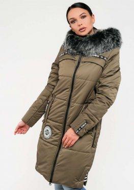 Женская длинная зимняя куртка с мехом цвета хаки