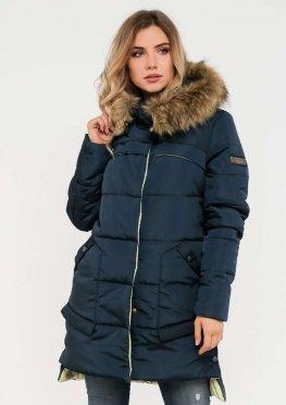 Женская куртка зимняя с меховой опушкой  синяя