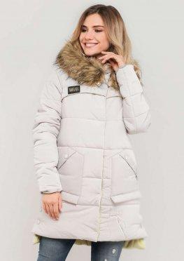 Женская куртка зимняя с меховой опушкой  белая