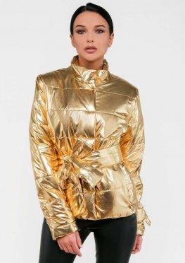 Женская демисезонная куртка цвет золотой